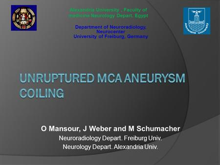 O Mansour, J Weber and M Schumacher Neuroradiology Depart. Freiburg Univ. Neurology Depart. Alexandria Univ. Department of Neuroradiology, Neurocenter.