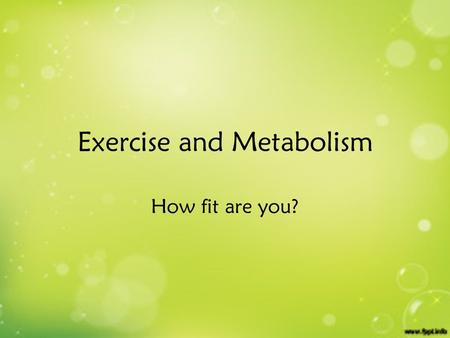 Exercise and Metabolism How fit are you?. Rest to Exercise What changes must take place in skeletal muscle at the beginning of exercise to provide the.