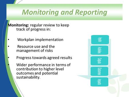 Monitoring and Reporting Monitoring: regular review to keep track of progress in: Workplan implementation Resource use and the management of risks Progress.