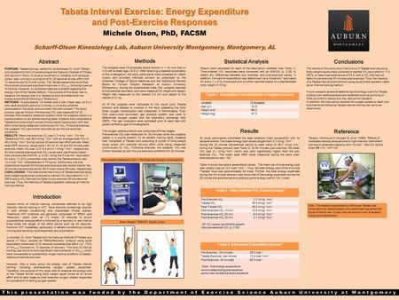 Tabata Interval Exercise: Energy Expenditure and Post-Exercise Responses Michele Olson, PhD, FACSM Scharff-Olson Kinesiology Lab, Auburn University Montgomery,