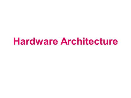 Hardware Architecture. Computing Infrastructure Components Components Servers Clients LAN & WLAN Internet Connectivity Software Storage Backup Security.