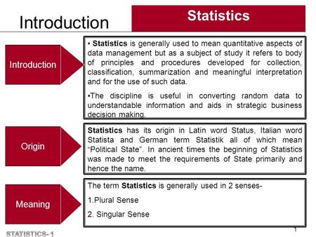 Introduction Statistics 1 Statistics is generally used to mean quantitative aspects of data management but as a subject of study it refers to body of principles.
