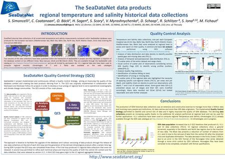 The SeaDataNet data products regional temperature and salinity historical data collections S. Simoncelli 1, C. Coatanoan 2, O. Bäck 3, H. Sagen 4, S.