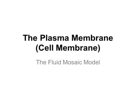 The Plasma Membrane (Cell Membrane) The Fluid Mosaic Model.