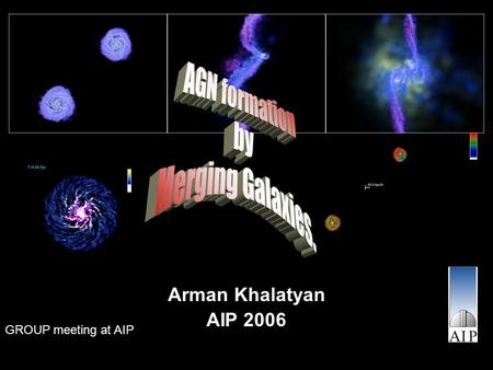 Arman Khalatyan AIP 2006 GROUP meeting at AIP. Outline What is AGN? –Scales The model –Multiphase ISM in SPH SFR –BH model Self regulated accretion ?!