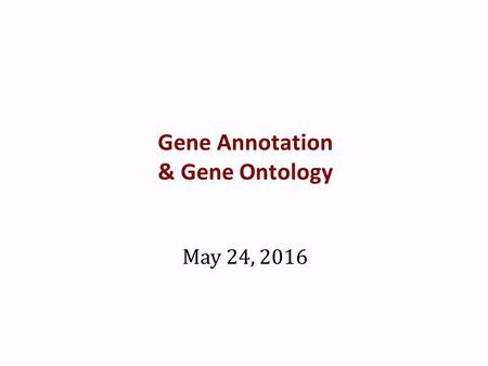 Gene Annotation & Gene Ontology May 24, 2016. Gene lists from RNAseq analysis What do you do with a list of 100s of genes that contain only the following.