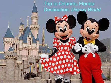 Trip to Orlando, Florida Destination: Disney World.