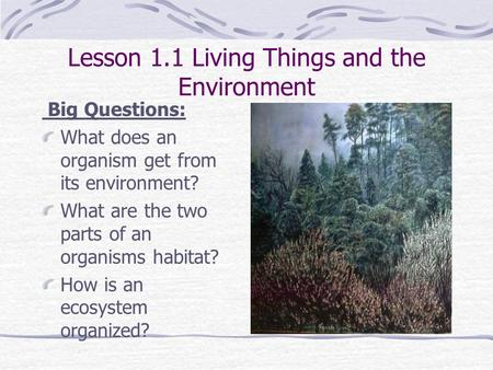 Lesson 1.1 Living Things and the Environment Big Questions: What does an organism get from its environment? What are the two parts of an organisms habitat?