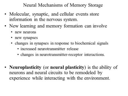 Neural Mechanisms of Memory Storage