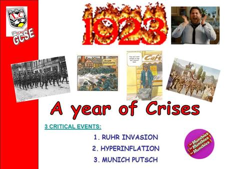 3 CRITICAL EVENTS: 3 CRITICAL EVENTS: 1.RUHR INVASION 2.HYPERINFLATION 3.MUNICH PUTSCH.