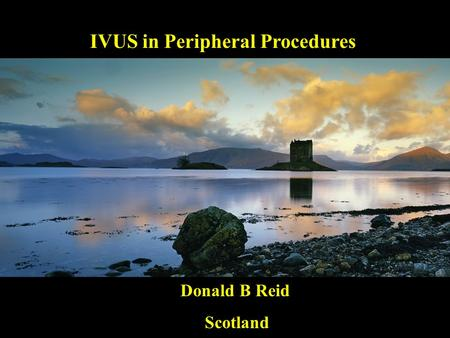 IVUS in Peripheral Procedures IVUS in Peripheral Procedures Donald B Reid Scotland Scotland.
