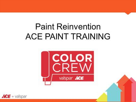 Paint Reinvention ACE PAINT TRAINING. WELCOME! Ace Vision Paint 101 S.A.L.E.S. Process Product Portfolio Selling Color & New Décor.
