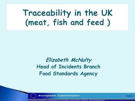 Elizabeth McNulty Head of Incidents Branch Food Standards Agency.