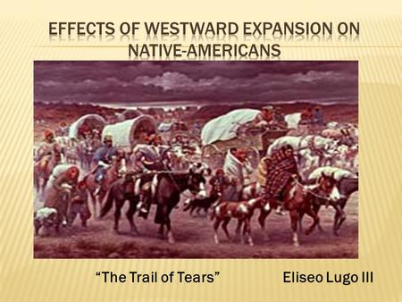 "Eliseo Lugo III""The Trail of Tears"".  The United States government made many treaties with the Native Americans not to fight and not to touch certain."