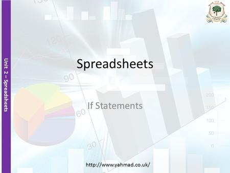 Unit 2 – Spreadsheets  Spreadsheets If Statements.