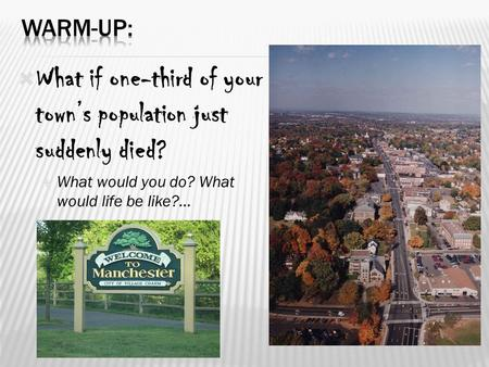  What if one-third of your town's population just suddenly died?  What would you do? What would life be like?... 1.