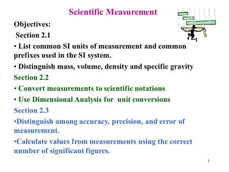 1 Scientific Measurement Objectives: Section 2.1 List common SI units of measurement and common prefixes used in the SI system. Distinguish mass, volume,
