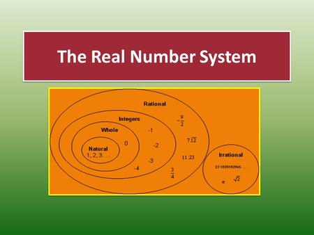 The Real Number System. Objectives Standard 8.2 The student will describe orally and in writing the relationships between the subsets of the real number.