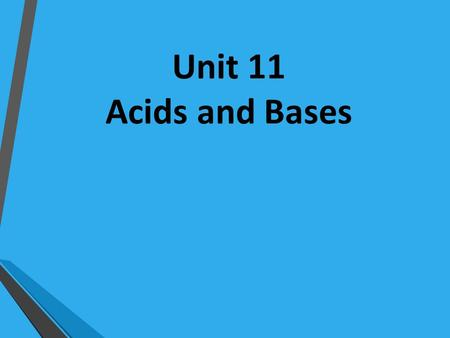 Unit 11 Acids and Bases. ACIDS Any substance that generates a hydrogen ion (H + ) when dissolved in water The pH of an acid ranges from 0-6; 0 is the.