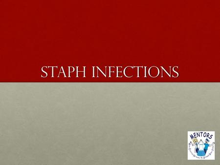"Staph Infections. What is staph? Staphylococcus aureus, often referred to simply as ""staph,"" are bacteria commonly carried on the skin or in the nose."