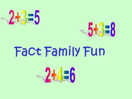 Fact Family Fun Do you know what a fact family is? A fact family is a bunch of numbers that all work together…