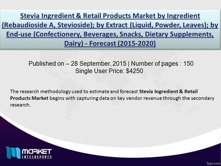 Stevia Ingredient & Retail Products Market by Ingredient (Rebaudioside A, Stevioside); by Extract (Liquid, Powder, Leaves); by End-use (Confectionery,