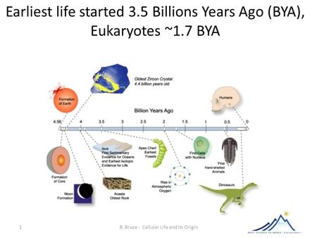 1 B. Bruce - Cellular Life and its Origin Earliest life started 3.5 Billions Years Ago (BYA), Eukaryotes ~1.7 BYA.