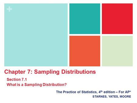+ The Practice of Statistics, 4 th edition – For AP* STARNES, YATES, MOORE Chapter 7: Sampling Distributions Section 7.1 What is a Sampling Distribution?