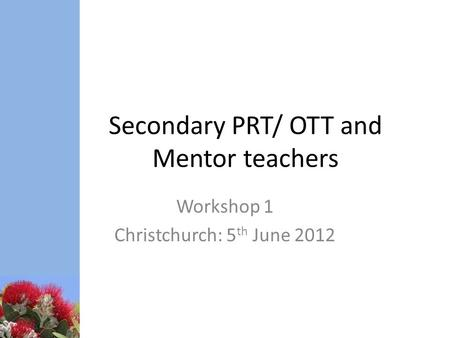 Secondary PRT/ OTT and Mentor teachers