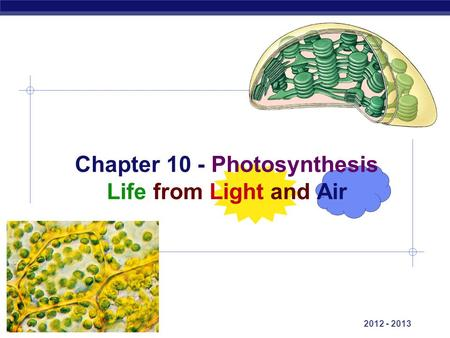 AP Biology 2012 - 2013 Chapter 10 - Photosynthesis Life from Light and Air.