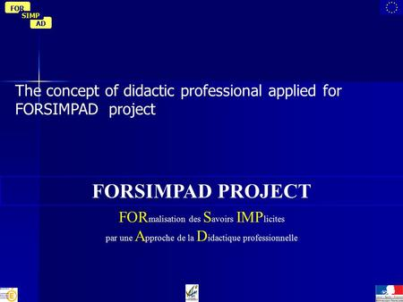 AD FOR SIMP The concept of didactic professional applied for FORSIMPAD project FORSIMPAD PROJECT FOR malisation des S avoirs IMP licites par une A pproche.
