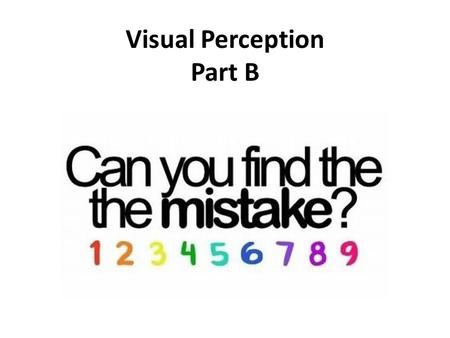 Visual Perception Part B. Depth Perception Allows us to see three dimensions even though images on retina are two dimensional Allows us to judge distance.