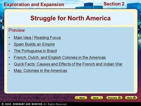 Exploration and Expansion Section 2 Preview Main Idea / Reading Focus Spain Builds an Empire The Portuguese in Brazil French, Dutch, and English Colonies.
