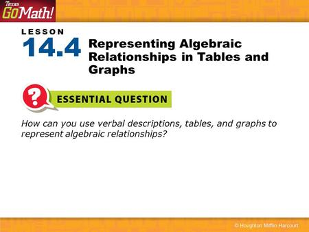 Representing Algebraic Relationships in Tables and Graphs