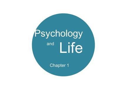 Psychology and Life Chapter 1. Definitions The Goals of Psychology Perspectives on Psychology The Evolution of Modern Psychology What Psychologist do.
