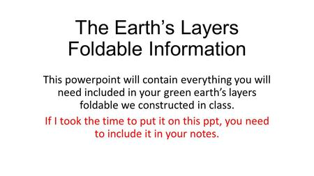 The Earth's Layers Foldable Information