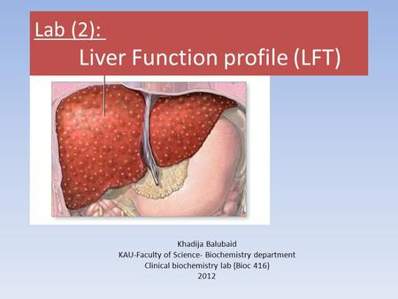 Lab (2): Liver Function profile (LFT)
