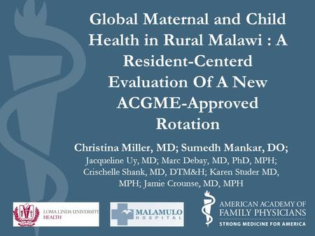 evaluation of the maternal and child • office of the associate administrator for maternal and child health, includes the office of operations and management the office of epidemiology, policy and evaluation and.