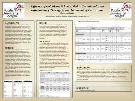 Efficacy of Colchicine When Added to Traditional Anti- Inflammatory Therapy in the Treatment of Pericarditis Efficacy of Colchicine When Added to Traditional.