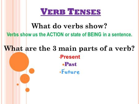 V ERB T ENSES What do verbs show? Verbs show us the ACTION or state of BEING in a sentence. What are the 3 main parts of a verb? Present Past Future.