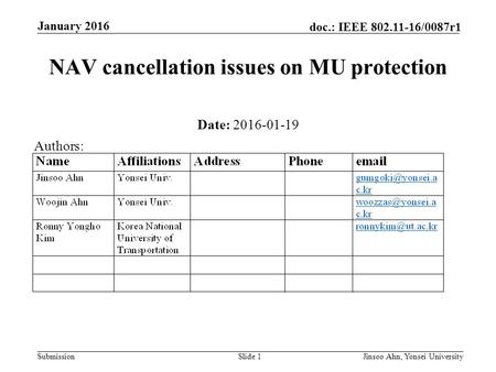 Submission doc.: IEEE 802.11-16/0087r1 January 2016 Jinsoo Ahn, Yonsei UniversitySlide 1 NAV cancellation issues on MU protection Date: 2016-01-19 Authors: