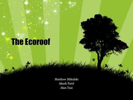 The Ecoroof Matthew Mikulski Akash Patel Alan Tsai.
