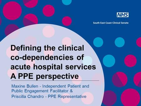 Defining the clinical co-dependencies of acute hospital services A PPE perspective Maxine Bullen - Independent Patient and Public Engagement Facilitator.
