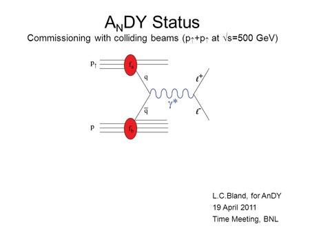 A N DY Status Commissioning with colliding beams (p  +p  at  s=500 GeV) L.C.Bland, for AnDY 19 April 2011 Time Meeting, BNL.