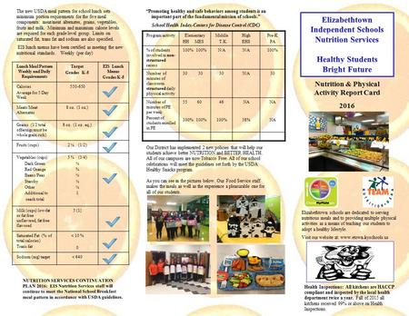 Nutrition & Physical Activity Report Card 2016 Elizabethtown schools are dedicated to serving nutritious meals and to providing multiple physical activities.