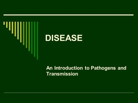 DISEASE An Introduction to Pathogens and Transmission.