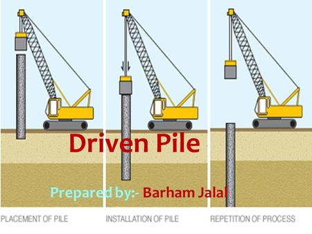 Driven Pile Prepared by:- Barham Jalal.  Introduction:- A pile is a long slender foundation member, made either of timber, structural steel or concrete.