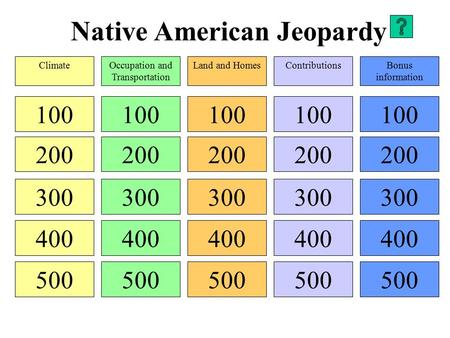 Native American Jeopardy 100 200 300 400 500 100 200 300 400 500 100 200 300 400 500 100 200 300 400 500 100 200 300 400 500 ClimateOccupation and Transportation.