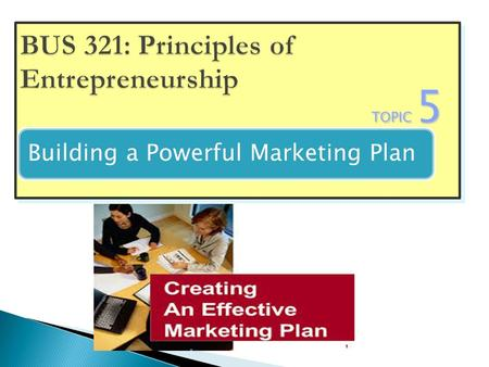 TOPIC 5 Search For a New Venture Building a Powerful Marketing Plan.