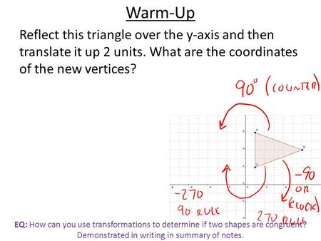 EQ: How can you use transformations to determine if two shapes are congruent? Demonstrated in writing in summary of notes. Warm-Up Reflect this triangle.